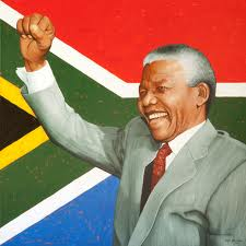 Nelson Mandela South Africa Flag in the Background